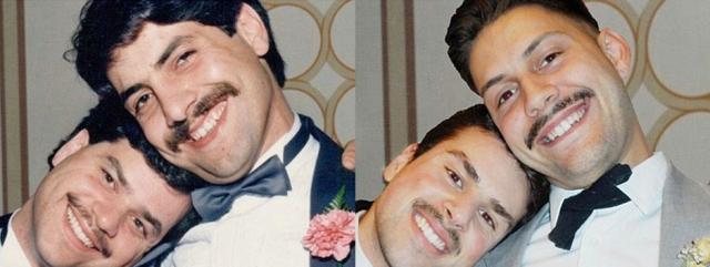 Двое мужчин позировали вместе на свадьбе (слева). Справа их дети 30 лет спустя.