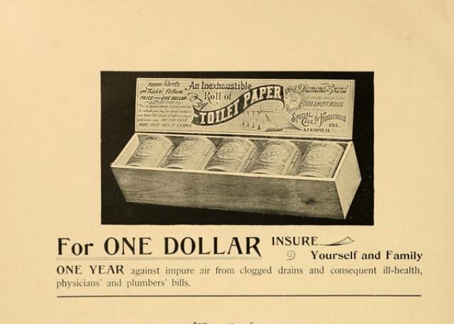 """Рулоны впервые стала выпускать американская бумажная фабрика """"Scott Paper"""" в 1890 году."""