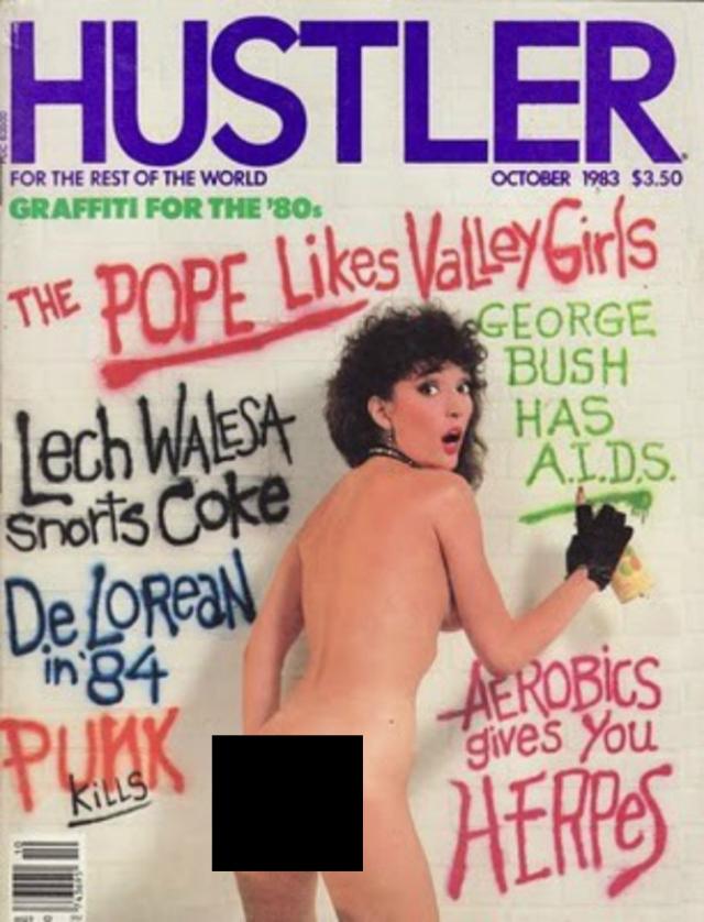 Октябрьский номер Hustler 1983 года в стиле панк обращается к таким темам, как заболевания, передающиеся половым путем, и сексуальные пристрастия главы Ватикана, о чем говорит обложка.