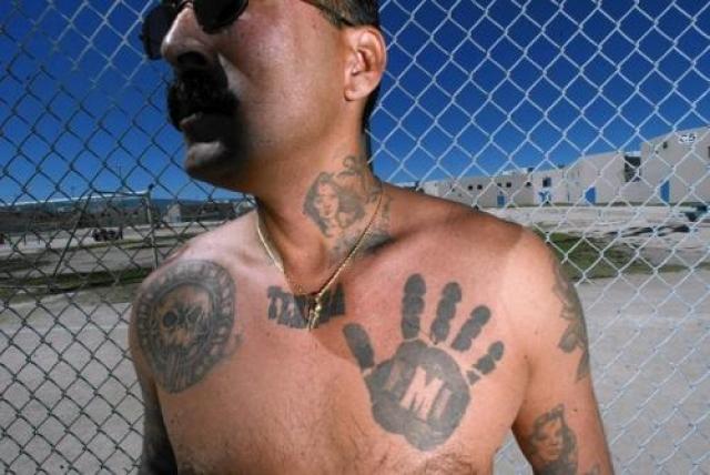 Мексиканская мафия (La eMe) - союзник Арийского братства с южного побережья США. Известна за свое активное участие в торговле наркотиками. Членов банды легко опознать по особой татуировке в виде черной руки, расположенной на груди.