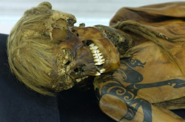Принцесса Укока. Хотя само тело этой мумии сохранилось не лучшим образом, любопытство ученых и энтузиастов вызывают сложно очерченные татуировки, прекрасно сохранившиеся, несмотря на то, что принцесса умерла более 2500 лет назад.