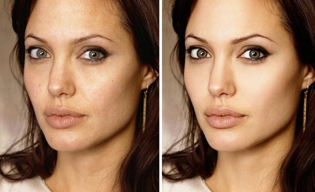 Анджелина Джоли. Бесспорно, актриса выглядит скорее как богиня, нежели как обычная женщина, но и ей нужна небольшая помощь фоторедактора.