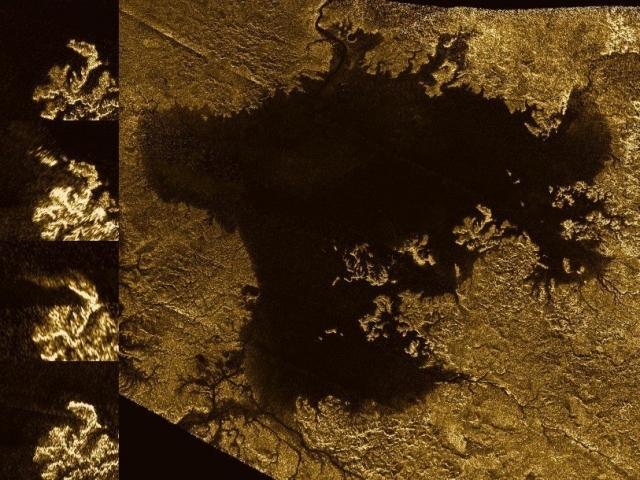 """В 2013-м году аппарат """"Кассини"""", исследуя спутник, обнаружил на его поверхности совершенно новый участок суши, который неожиданно возник во втором по величине море Титана - Ligeria Mare."""
