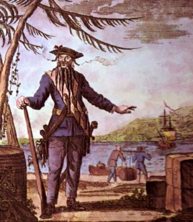 Эдвард Тич (1680-1718). Пират получил широкую известность под прозвищем Черная Борода. Именно растительность на лице способствовала тому, что Тича считали страшным извергом.
