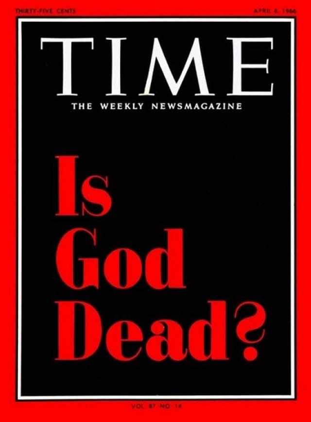 """TIME, апрель 1966. Красные буквы на черном фоне - """"Бог умер?"""". Статьи внутри номера были посвящены не теологическим и теософским изысканиям, а становящемуся все более популярным атеизму."""