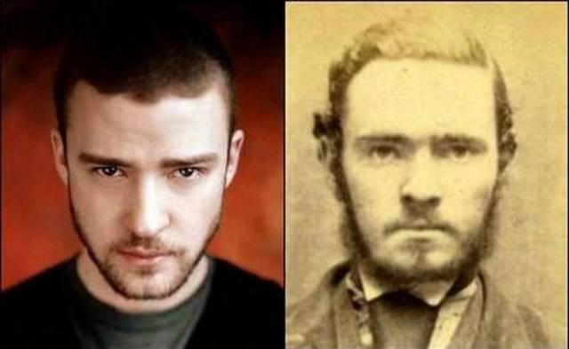 Джастин Тимберлейк и неизвестный преступник, фото которого было сделано при задержании в середине 1800-х годов.
