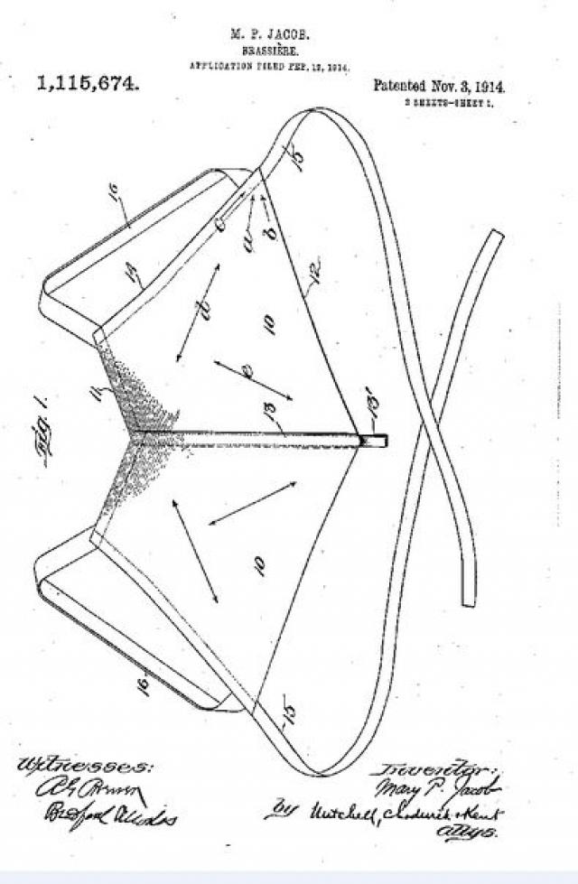 Вот так выглядел чертеж запатентованного Мэри Фелпс Джекобс бюстгальтера, который и стал прообразом современных моделей.