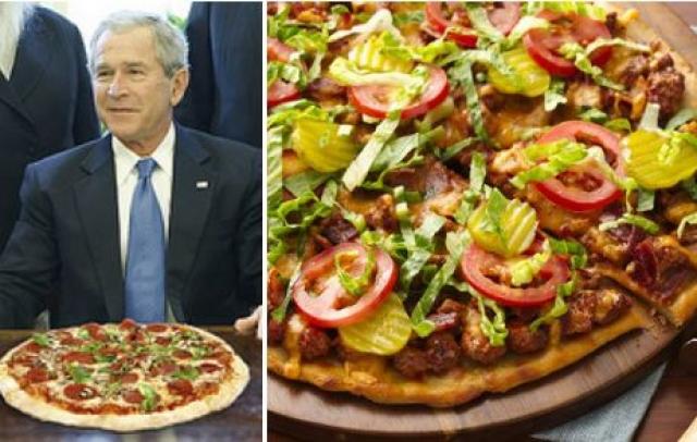 Джордж Буш , экс-президент США, отличался странными кулинарными пристрастиями, в частности любовью к блюду, которое является одновременно пиццей и чизбургером.