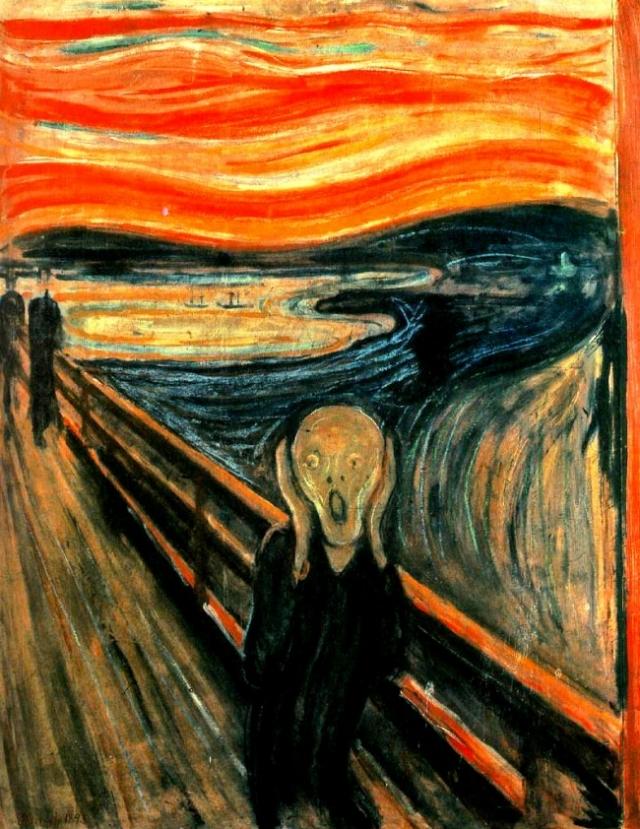 """""""Крик"""", Эдвард Мунк. Именно это произведение считается одной из самых известных картин в мире. Мунк написал четыре варианта """"Крика"""", и предполагают, что изображение - плод маниакально-депрессивного психоза, от которого страдал художник."""