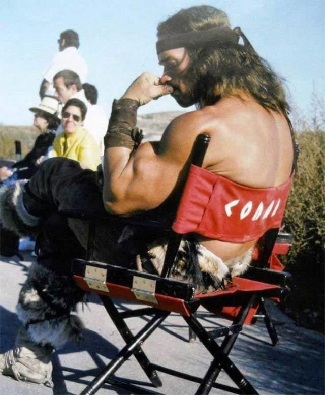"На съемочной площадке фильма ""Конан Варвар"", 1982 год."