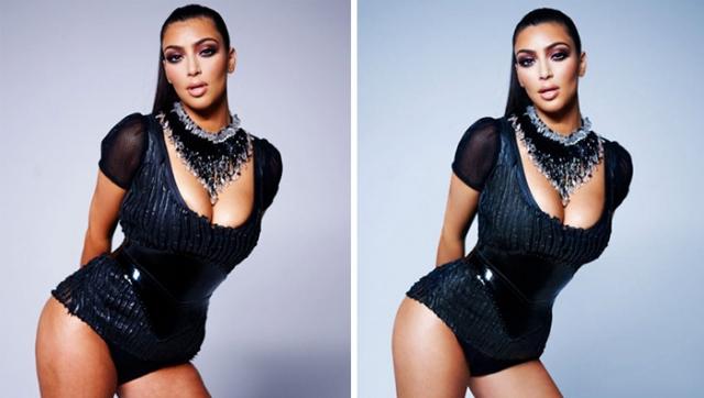 Ким Кардашьян. Пожалуй, редакторам глянца пышные формы Ким показались чересчур пышными.