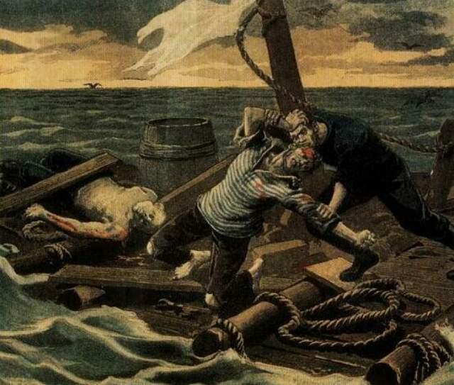 """46 лет спустя описанная По трагедия была в точности повторена в жизни. Корабль """"Миньонетт"""" потерпел крушение. В лодке, как и в рассказе, находились четыре человека: капитан Томас Дадли, его помощник Эдвин Стивенс, матрос Эдмунд Брукс и юнга, 17-летний Ричард Паркер."""