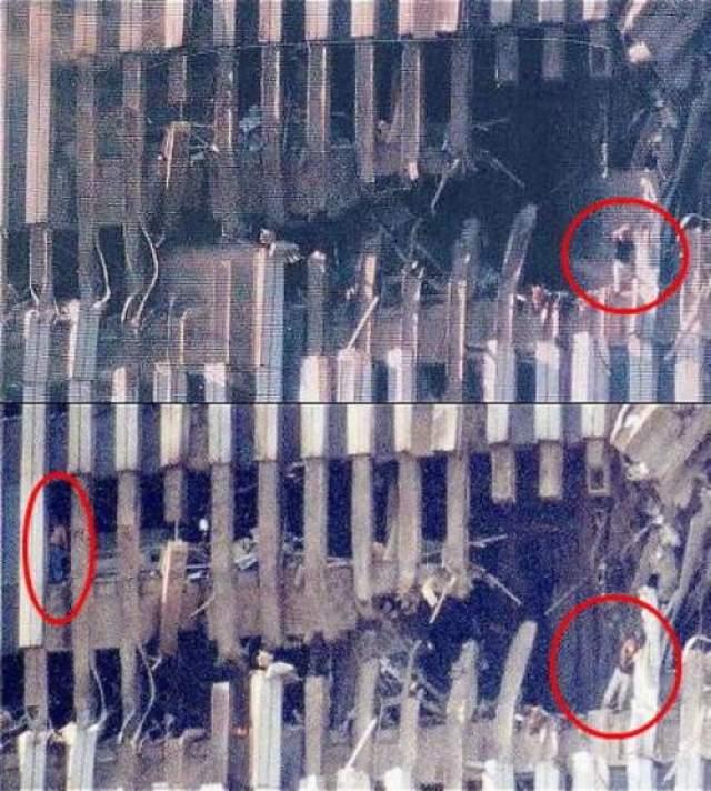 Теракт 9/11 - женщина из Южной Башни На этих двух снимках в дыре, образовавшейся в Южной Башне после того, как в здание врезался самолет, можно разглядеть стоящую на краю женщину. Ее зовут Одна Клинтон и, как не удивительно, она оказалась в списках выживших. Как ей это удалось - уму непостижимо, учитывая все произошедшее в той части здания.