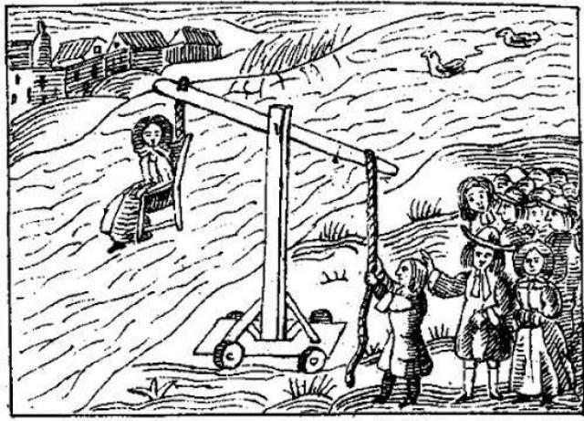 Кресло для ведьминого купания. Грешника привязывали к креслу, подвешенному к длинной жерди, и опускали под воду на какое-то время, потом давали немного глотнуть воздуха, и повторяли процедуру. Популярное время года для проведения таких пыток - поздняя осень или даже зима. Иногда пытки длились сутками.