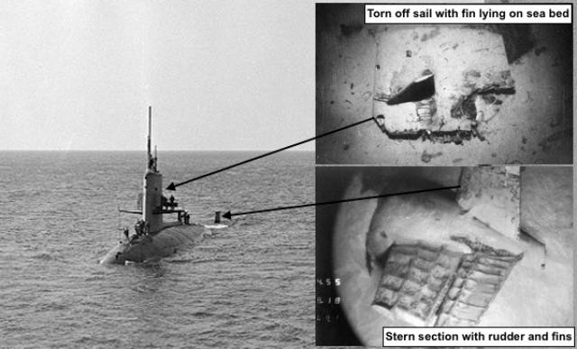 Проанализировав записи гидроакустических станций противолодочной обороны, был обнаружен сигнал, характерный для разрушения корпуса подлодки гидростатическим давлением.