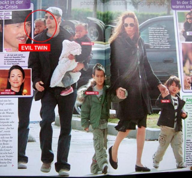 А вот у Брэда Питта за плечом появился двойник его ребенка!