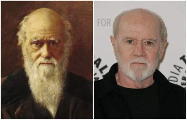 Английский натуралист Чарльз Дарвин и стенд-ап комик Джордж Карлин