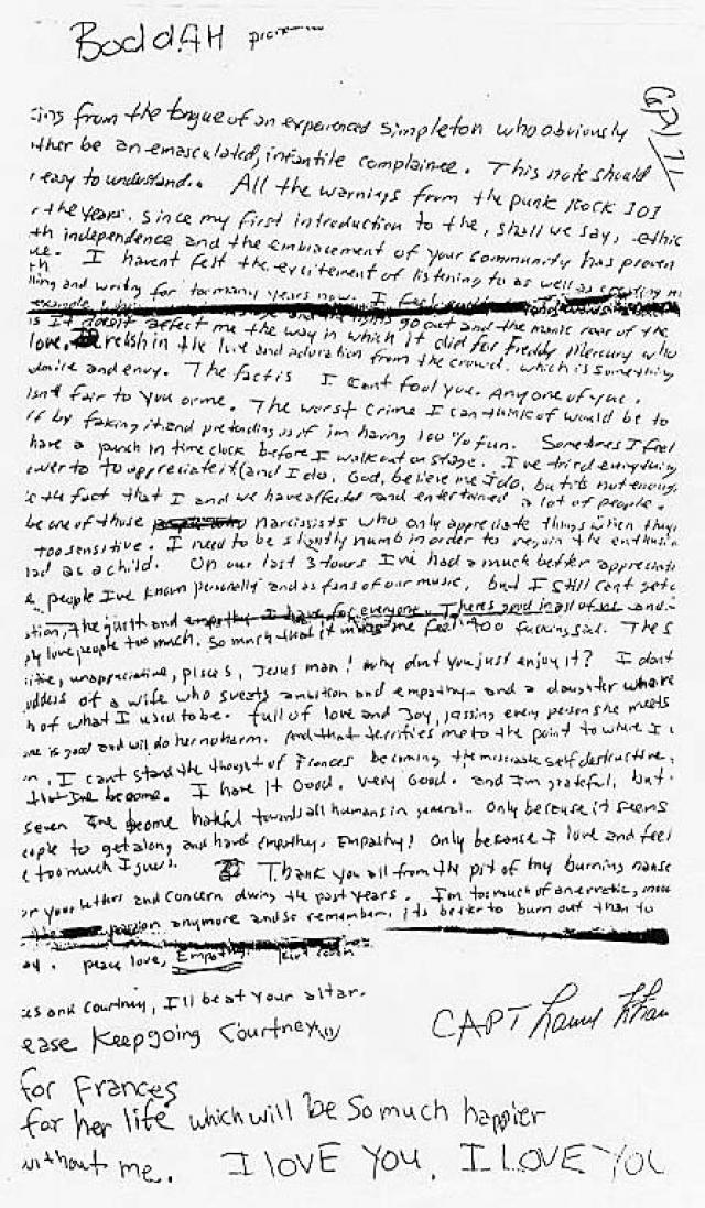 Курт оставил предсмертную записку, написанную красной ручкой. Протокол осмотра места происшествия был составлен формально, без углубленного анализа деталей.