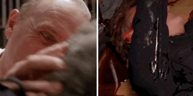 """""""Молчание ягнят"""". Сцена поедания Ганнибалом Лектером живого полицейского."""
