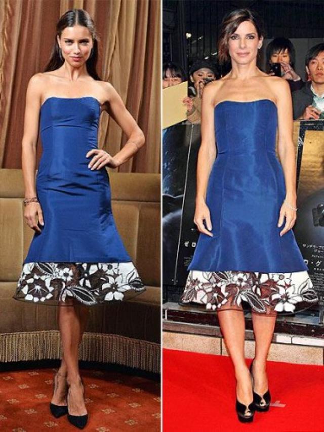 Модель Адриана Лима и актриса Сандра Баллок выбрали одинаковое платье от Carolina Herrera.