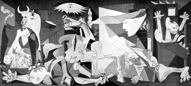 """""""Герника"""", Пабло Пикассо. Картина - рассказ о трагизме войны и страданиях невинных людей: это сцены смерти, насилия, зверства, страдания и беспомощности."""