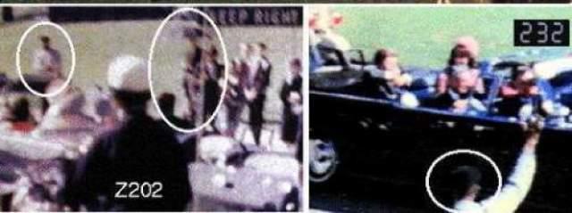 Мужчина открывает зонт и поднимает его высоко над головой именно в момент приближения лимузина президента. Затем он вертит зонт по часовой стрелке - и Кеннеди получает пулю.