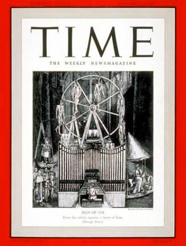 """Time, 1938. Обложка вызвала много споров по вполне понятным причинам. """"Личность года"""" – это номер """"Time"""", который выходит раз в год и полностью посвящен одному человеку. В 1938 году человеком года стал Гитлер."""
