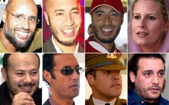 У Каддафи родилось восемь детей: семеро сыновей и одна дочь.