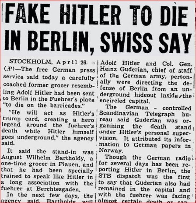 Слухи о том, что Адольф Гитлер жив, появились, практически сразу после его смерти. В кончине диктатора сомневались англичане, французы, американцы. Ходили упорные разговоры об удивительном спасении фюрера.
