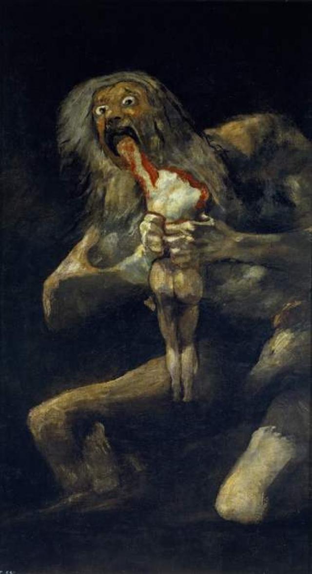«Сатурн, пожирающий своего сына» Одна из самых известных и зловещих работ испанского художника Франсиско Гойя была нарисована на его стене дома в 1820 — 1823. Сюжет основан на греческом мифе о титане Хроносе (в Риме - Сатурн), который опасался, что будет свергнут одним из своих детей и съедал их сразу после рождения.