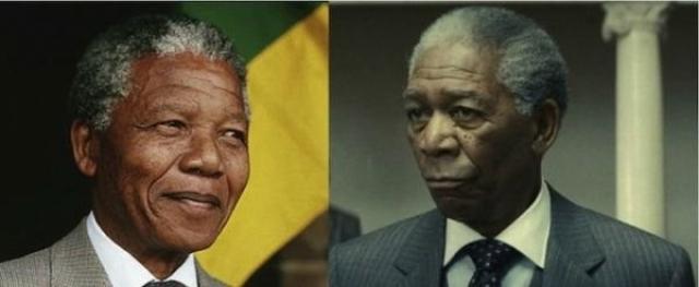 """Нельсон Мандела и Морган Фримен , """"Непокоренный""""."""