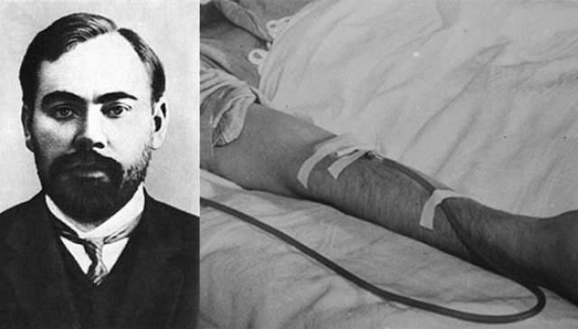 В 1920-х Богданов начал эксперименты с переливанием крови, стремясь достичь вечной молодости или омоложения. После 11 переливаний заявил, что зрение улучшилось и прекратилось облысение. Но вскоре умер, получив кровь больного малярией и туберкулезом студента.