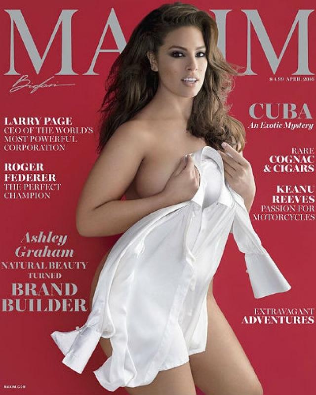 Maxim, апрель 2016. Эшли Грэм стала первой моделью plus-size, появившейся на обложке американской версии журнала Maxim.