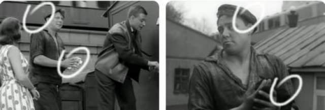 При смене плана в середине сцены у героя Вячеслава Невинного кепка сползает с правого уха - на левое... а тряпка меняет цвет с белого на черный..