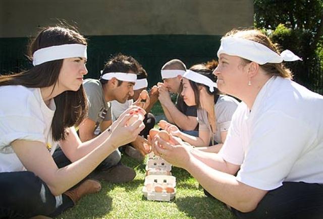 Чемпионаты по метанию яиц. Метание яиц в паре - команда состоит из двух человек, которые должны с максимально возможного расстояния перебросить друг другу яйцо, а главное не разбить его.