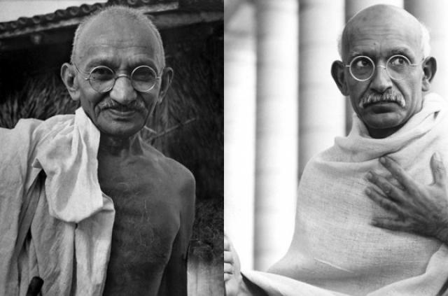 "Махатма Ганди и Бен Кигсли , ""Ганди""."