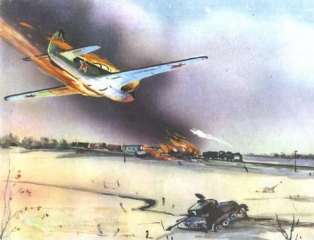 Первый «огненный» таран «Огненным» тараном называют прием, когда пилот направляет подбитый самолет на наземные цели.