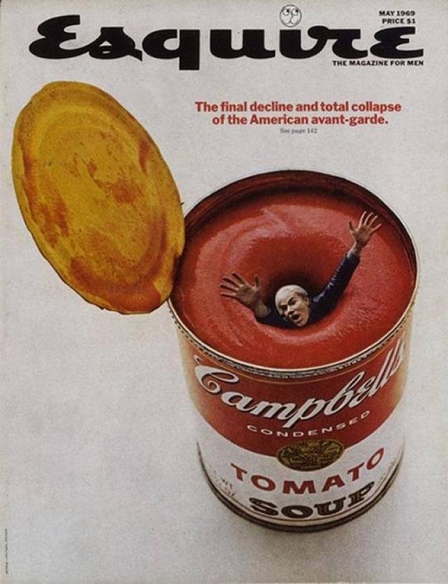 Esquire, май 1969. Художник Энди Уорхол тонет в банке супа Campbell's, которую он возвел в ранг культового арт-объекта. Коллаж символизирует закат поп-арта.