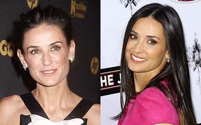 """Но если посмотреть на фото актрисы, то видны сильные изменения в ее внешности. К примеру, когда Деми в 1996 году предложили сняться в фильме """"Стриптиз"""", ее фигура заметно подтянулась, а грудь выросла в размере всего за месяц."""