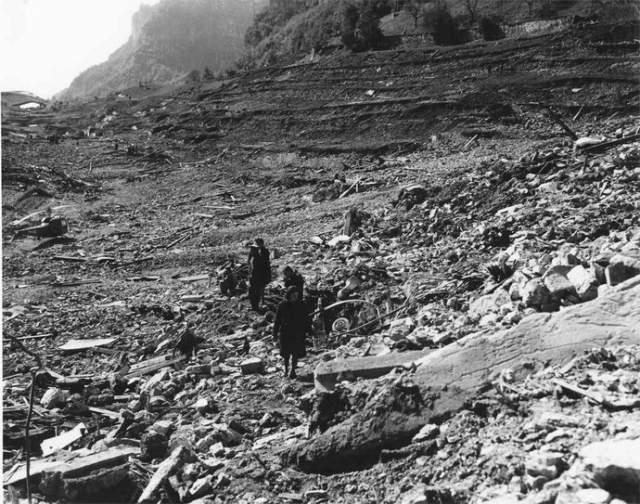 С момента начала обвала и до завершения катастрофы в долине Пьяве прошло всего 7 минут.