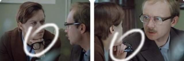 При смене плана очки в руках главной героини переворачиваются дужками вниз.