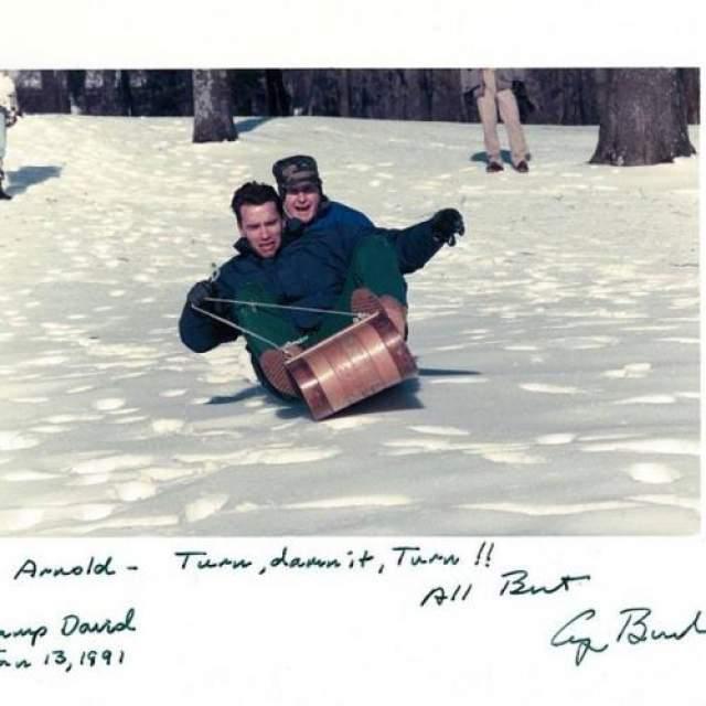 Арнольд Шварцнеггер и Джордж Буш