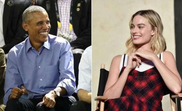 """Марго Робби и Барак Обама. В 2016 году на отдыхе на Таити Робби вместе с мужем пошла в тренажерку. Ее супруг, Том Экерли, при этом надел очень старые короткие и обтягивающие шорты, и Марго заявила, что Том выглядит в них нелепо. Тот сказал что-то вроде """"кого я тут любил"""", и буквально через минуту в коридоре появился экс-глава США."""