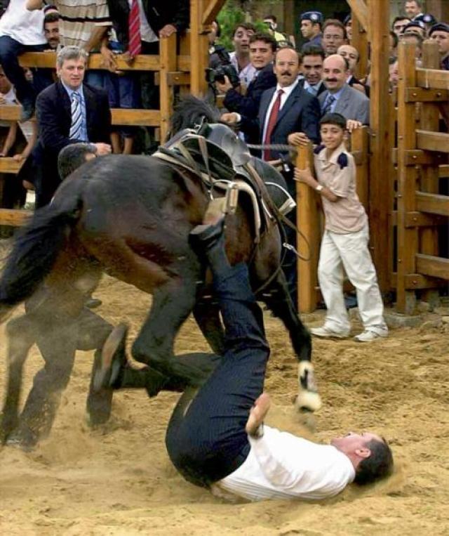 На открытии грандиозного парка отдыха в Стамбуле главным событием должен был стать проезд премьер-министра Турции Реджепа Тайипа Эрдогана верхом на лошади. В итоге попытка премьера сесть в седло закончилась бесславным падением.