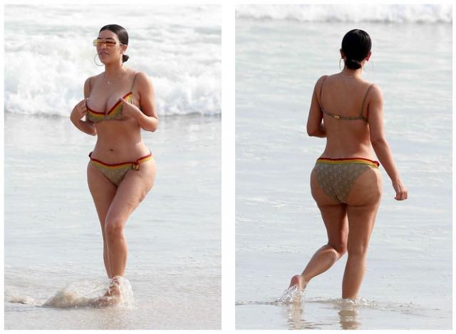 Ким Кардашьян поначалу заявила, что на этом снимке целлюлит и растяжки ей всего-навсего нарисовали в фотошопе.