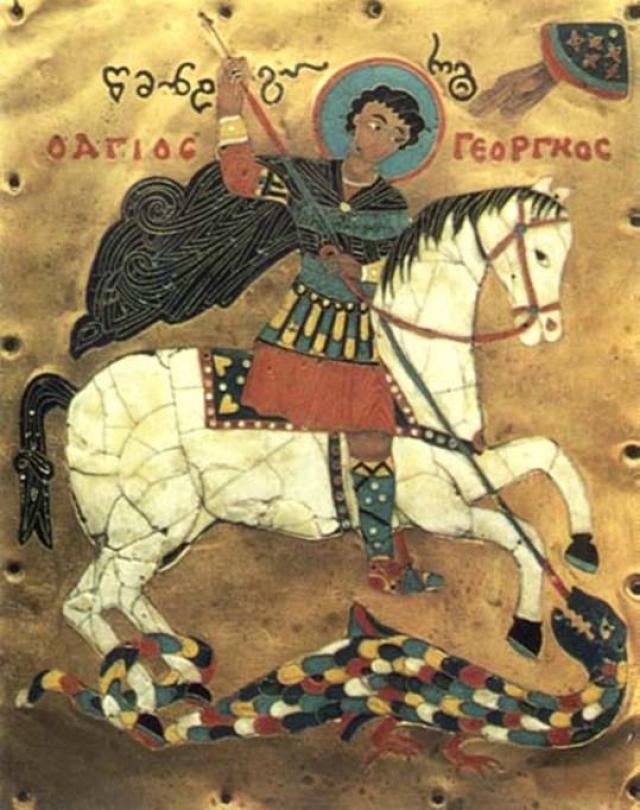 Эмалевая миниатюра Святого Георгия 15 века.