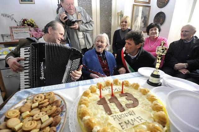 Еще бонус: Мария-Джузеппа Робуччи-Нарджизо, родилась 20 марта 1903 года, итальянке 115 лет и 336 дней, она тоже в добром здравии.