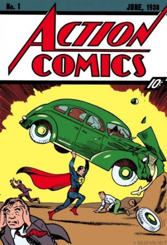 Первый выпуск журнала комиксов Action Comics. Самый первый выпуск комиксов из этой серии стоит $2 000 000. Именно в нем в 1938 году публика впервые увидела героя-Супермена.