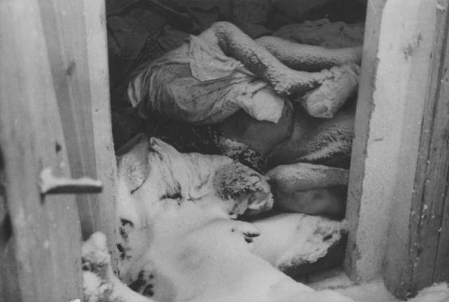 Зимой 1945 года немцы просто бросали тела жертв в бараках. Советские солдаты, освободившие концлагерь, в одном из бараков увидели ряды женских тел, занесенные снегом.