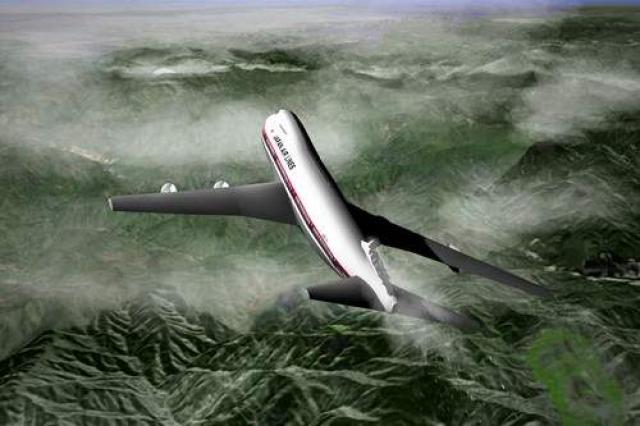 В пилотской кабине сработала сигнализация о резком падении давления в салоне. Пилоты пытались выяснить причину взрыва в хвостовой части самолета, сопровождавшегося разгерметизацией. (На фото - реконструкция повреждения).